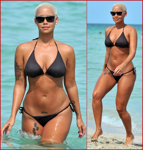 kanye west amber rose beach. Amber Rose showed her ex