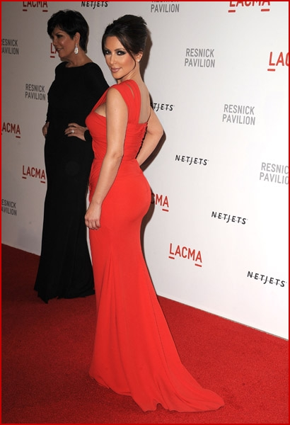 Kim Kardashian (Bright Red Dress) & Nicole Richie @ Resnick Pavilion Opening