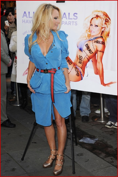PAMELA ANDERSON UNVEILS NEW PETA AD IN LONDON   Faded